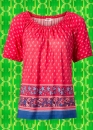 G540✪ Indian Spirit Boho Paisley Tunika Shirt Ethno Hippie Folk rot blau Gr. 42